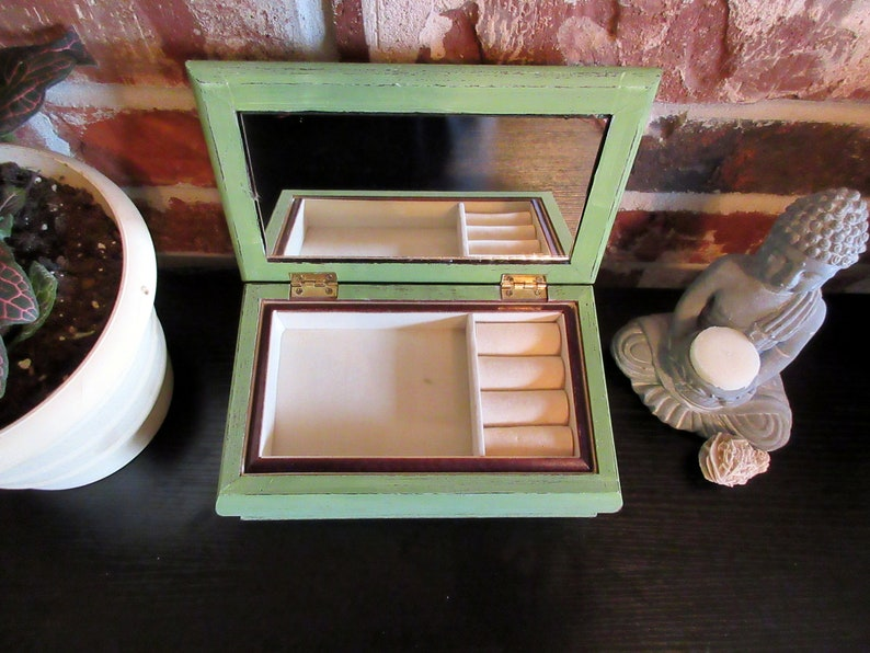 Vintage Upcycled Gift For Them Green Jewelry Box Wooden Jewelry Holder Organizer Sage Green with Floral Fabric Pattern