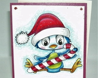Christmas note card bird