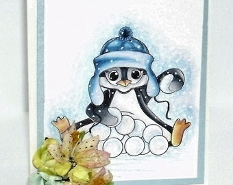 Christmas note card penguin