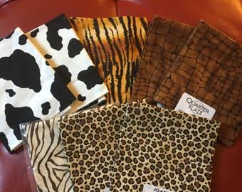 8 Animal Print Fabric Fat Quarter 18 x 22 Inches
