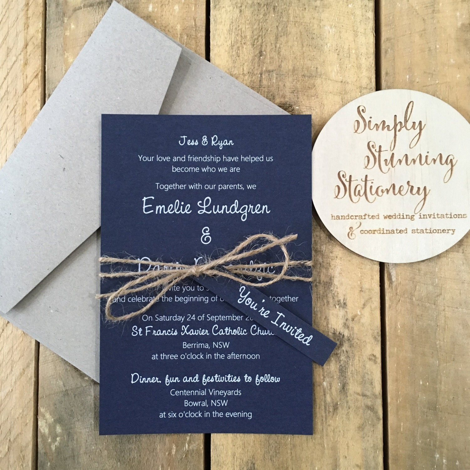 Navy Blue & White Rustic Wedding Invitation SAMPLE