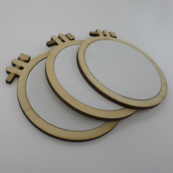 4/' inches Laser cut embroidery hoop with quality canvas for painting 10 cm