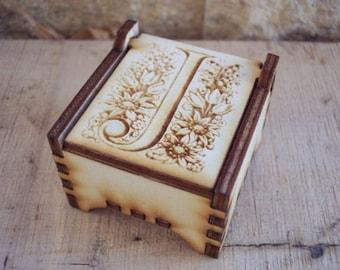 Secret Wood Box - Letters Collection - J -