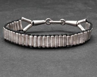 Sterling Silver Cuff Bracelet, Handmade Woven Men/Women Bracelet, Friendship Silver Beaded Bracelet, Boho Jewelry, Unisex Jewelry