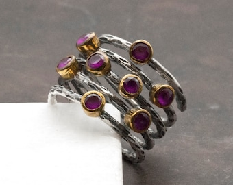 Ruby Ring, Sterling Wire Wrap Large Ring, Stacking Ruby Ring, Statement Ring, Handmade Ring, July Birthstone Ring, Ruby Jewelry, Chunky Ring