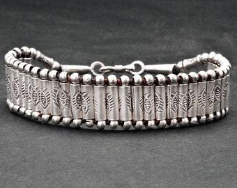 Sterling Silver Unisex Cuff Bracelet, Handmade Woven Men/Women Bracelet, Friendship Silver Beaded Bracelet, Boho Jewelry, Unisex Jewelry