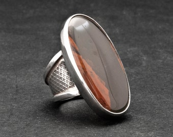 Big Agate Statement Ring, Large Brown Agate Sterling Silver Ring, Extravagant Fashion Ring, Size 8 Ring, Everyday Brown Ring Gift for Her