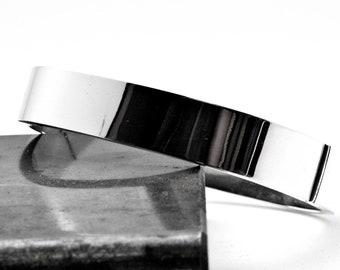 Sterling Silver Bangle Bracelet, Men/Women Simple Bracelet, Unisex Cuff Bracelet,  Minimalist Cuff, Large Opening Bangle, Unisex Jewelry