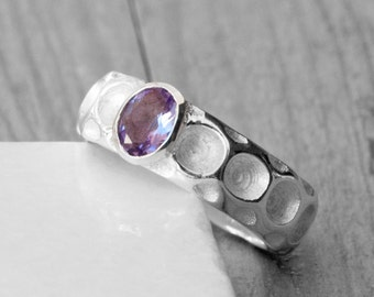 Amethyst Ring, Sterling Silver Purple Amethyst Ring, Statement Promise Ring, Cocktail February Birthstone Ring, Natural Amethyst Jewelry