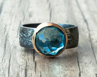 Blue Topaz Ring, Sterling Silver and Gold Blue Gemstone Ring, Natural Topaz Jewelry, Cocktail Ring, November Birthstone Ring, Boho Ring