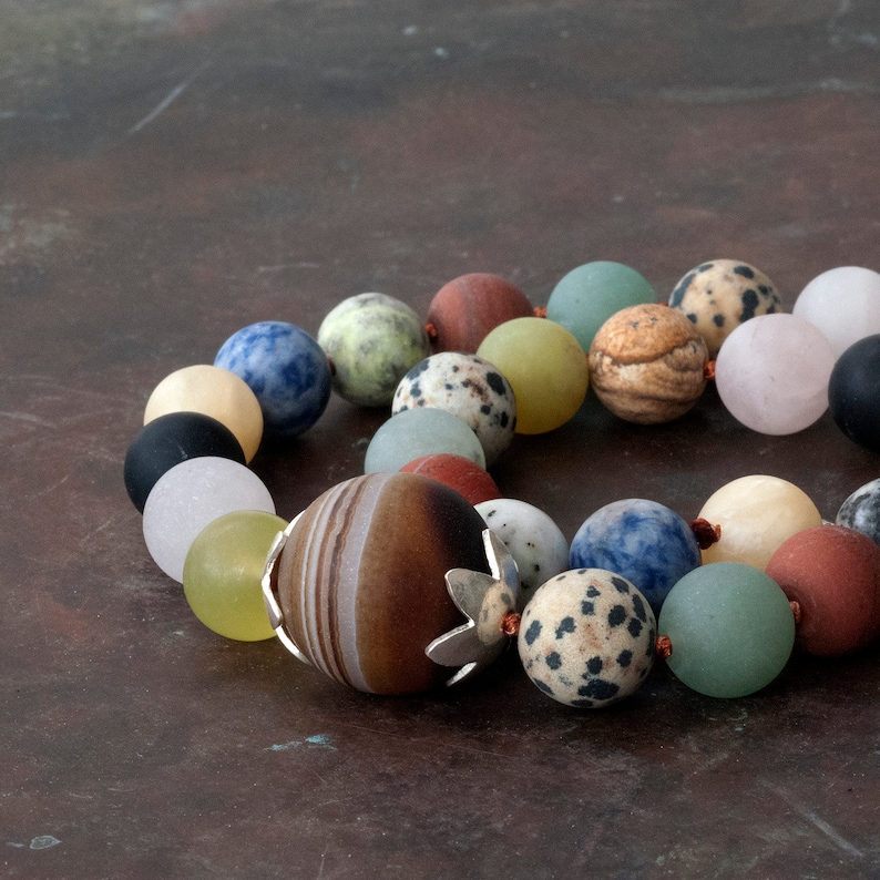 Knotted Chunky Multi-color Necklace Statement Necklace Genuine Multi Gemstone Beaded Necklace Wearable Art Jewelry Fashion Necklace