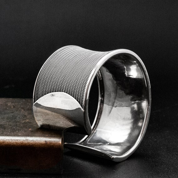 Silver Cuff Bracelet for Men Unisex Thick Oval Shape