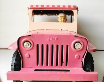 Vintage 1960s ATC Pink Tin Jeep