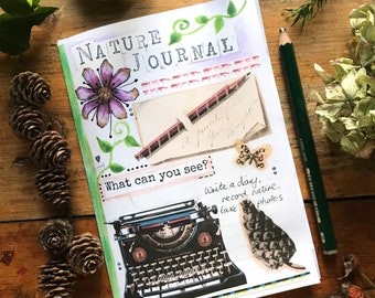 Nature journal, printed zine style. Planner, notes, record nature, sewn together.