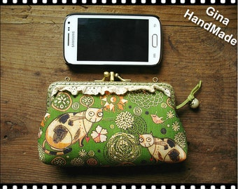 Country cat Two-compartment  iphone case / Coin purse / Coin Wallet / Pouch coin purse / Kiss lock frame purse bag-GinaHandmade