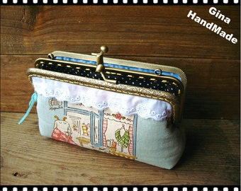 Mrs Goat Two-compartment Coin purse / Coin Wallet / Pouch coin purse / Kiss lock frame purse bag-GinaHandmade