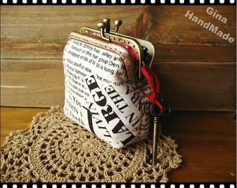 Vintage newspaper Two-compartmentCoin metal purse / Coin Wallet / Pouch coin purse / Kiss lock frame purse bag-GinaHandmade