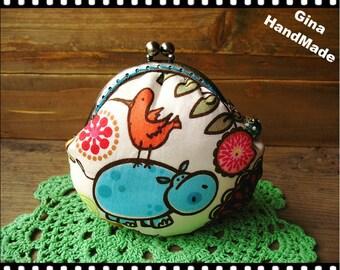 Hippo garden Metal frame purse / coin purse / Coin Wallet / Pouch / Kiss lock frame bag-GinaHandMade