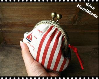 Sailboat  Metal frame purse / coin purse / Coin Wallet / Pouch / Kiss lock frame bag-GinaHandMade