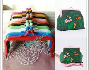 8pieces-10.5cm(4 inch) rainbow colors baking-varnish rectangle metal bag frame purse frame (8colors)