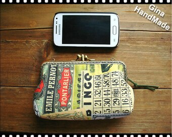 Tickets Two-compartment iphone case / Coin purse / Coin Wallet / Pouch coin purse / Kiss lock frame purse bag-GinaHandmade