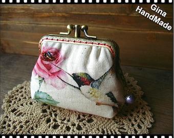 Hummingbird Two-compartment Coin purse / kiss lock purse / wallet / Pouch coin purse / Kiss lock frame purse bag-GinaHandmade