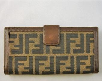 53ca486e5d Vintage FENDI TRAVEL Wallet Authentic FENDI Wallet Leather Zucca Print Fine Leather  Canvas Fendi Designer Wallet Italian Designer Wallet
