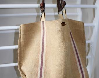 Grain Sack Tote. Purple Stripe Purse. Market Bag. Beach Bag. Vintage French Burlap.Recycled Leather Handles.