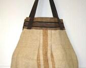 Bag Purse Yellow Stripe, Liberty Print Lining. Medium. Vintage Fabric.