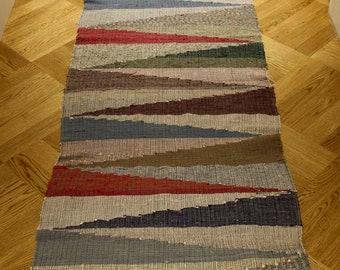 Vintage Hungarian Rag Rug. Multi Coloured.  Floor  Hall Runner.  Corridor Rug.
