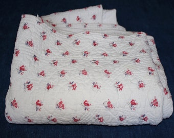 Antique French Quilt. Pink Flowers on White. Single Bed Cover. Hand Quilted Comforter Bedspread