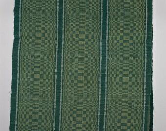 Vintage Hungarian Rag Rug. Green,Red, BlueCheck . Hall Runner. Corridor Rug.