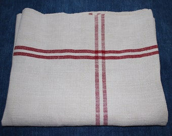 Striped Hungarian Table Runner . Red Stripe Burlap.  Hemp Cushion Material.