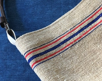 Grain Sack Purse . Red and Blue Stripe Burlap Shoulder Bag.  Recycled Leather Handles.