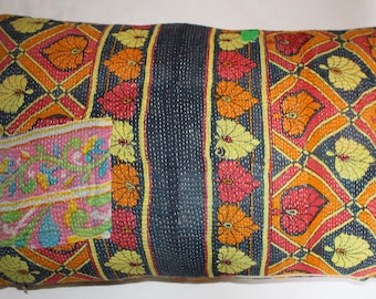 Pillow Cushion Cover Kantha 16 x 24 inch 40 x 60 cm Bright Colours . Handmade with Passion