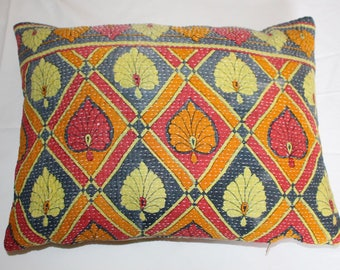 Kantha Pillow Cushion 12 x 16inch 32 x 42 cm. Vibrant Colours .Handmade with Passion