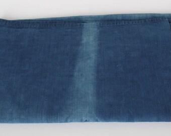 Antique French Cotton  Drill Fabric . Indigo Blue Tablecloth.
