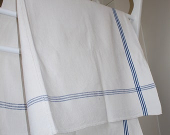 Vintage Blue Border Linen Table Cloth. Hungarian Linens.  Medium. Rustic Country Style. Good Condition