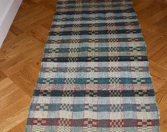 Vintage Hungarian Rag Rug. Green,Yellow, Red Check . Hall Runner. Corridor Rug.