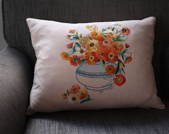 Pillow Cushion Cover  Vintage Daisy Embroidery  14 x18 inch 35 x 45cm . Handmade with Passion