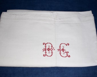 Antique French Hemp  Sheet. Red Initials BC  Hand Embroidered.
