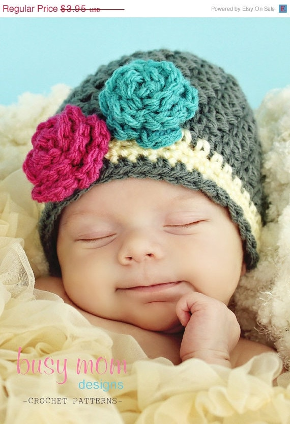 Crochet Pattern - Snuggly Earflap Hat with Flower - by Busy Mom Designs