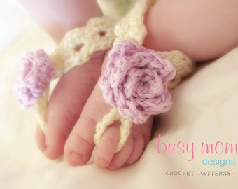 Crochet PATTERN - Barefoot Elegance - Barefoot Sandals - Footbands - Instructions included for all sizes - Easy - PDF 701