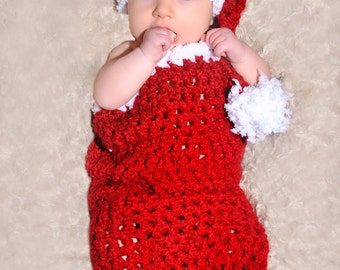 CROCHET PATTERN  - Santa Baby Cocoon and Matching Sleeper Hat Set - Great Photo Prop - Easy - PDF 405 - Sell what you Make