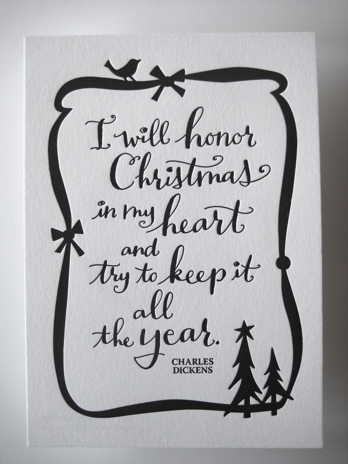LETTERPRESS ART PRINT I will honor Christmas in my heart and | Etsy