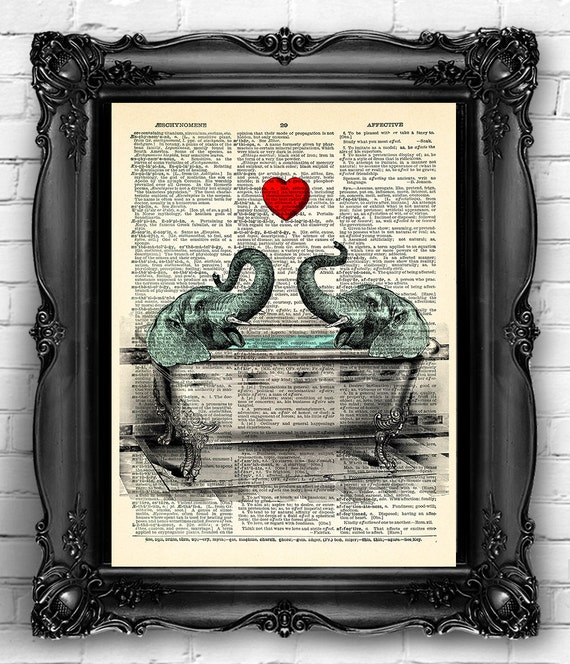 Elephant Couple Love Art Print Bathroom Wall Decor funny | Etsy