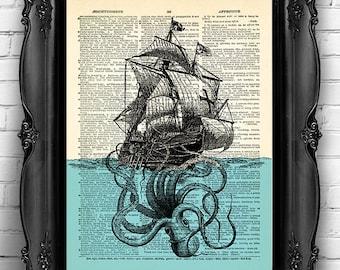Giant Octopus Ship Sea Print Squid Art Nautical Poster Bathroom Wall Decor Beach Home Art Print Squid Poster Squid Bathroom Wall Decal 116