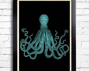 Octopus Squid Art Print BLUE Octopus Poster, Octopus Bathroom Wall Decor, Beach Home Art Print Squid Poster, Octopus Bathroom Wall Decal 101