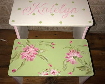 Steps Stools, Pink Green Floral,  BENCH, Bathroom Stools, Girls Nursery, Personalized free, Toddler step stool