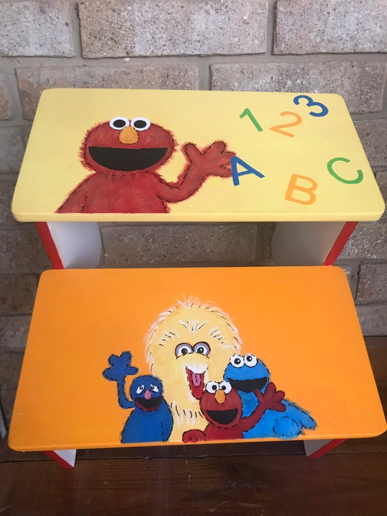 Sesame Street Characters Personalized Gifts Birthday Gift Baby Nursery Big Bird Elmo Cookie Monster Wood Benches Toddler Kids